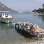 Akbuk Koyu: Fishing boat & nets just off the beach