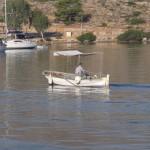 Bozburun: A fisherman off to work, passing the anchorage