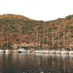 Dirsek: Yachts lined up on the quay in front of the restaurant