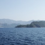 Orhaniye: The distinctive hotel, right, and bay entrance & marina left