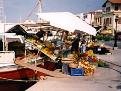 Aegina: Fresh fruit. Grocers stall on a boat
