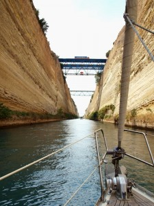 The steeply walled Corinth Canal