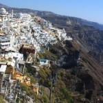 Santorini: Fira town overlooks the cauldron