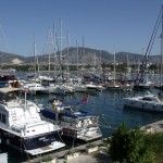 Bitez: The harbour with an assortment of boats