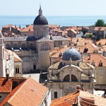 Dubrovnik: The Clock Tower, St Blaise's Church and behind, the Cathedral