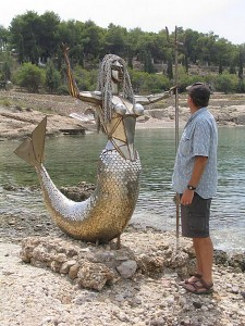 Spetses: A local resident in the sculpture park
