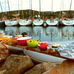 Dokos: Flotilla yachts at the Beach Party