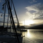 Dokos: Sunrise over the flotilla yachts